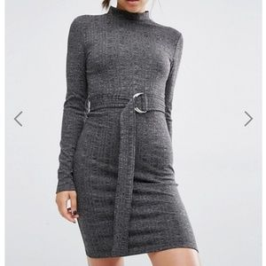 First & I D-Ring Belted Bodycon Dress